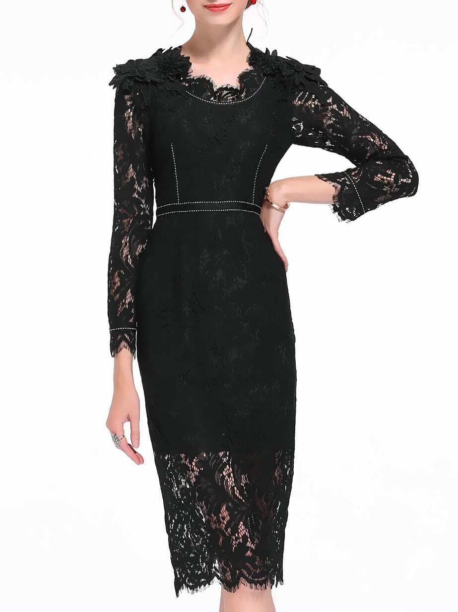 Фото Black Contrast Crochet Sheer Lace Dress. Купить с доставкой