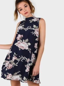 Flower Print Keyhole Button Closure Back Swing Dress
