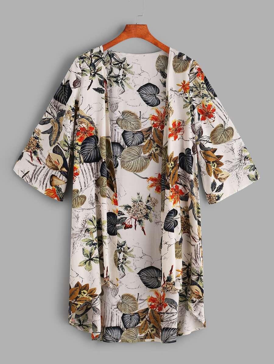 Tropical Print Dip Hem Kimono by Sheinside