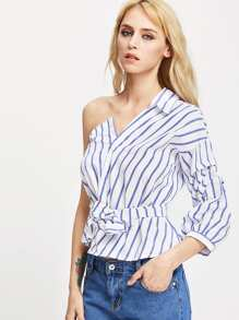 One Shoulder Self Tie Striped Blouse