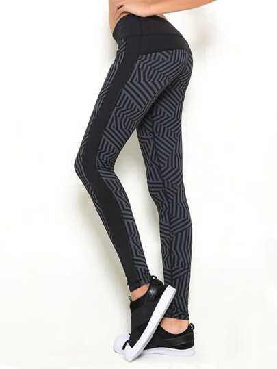 Abstract Stripe Print Gym Leggings