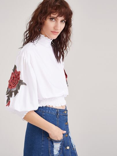 White Flower Embroidered Lantern Sleeve Shirred Hem Blouse