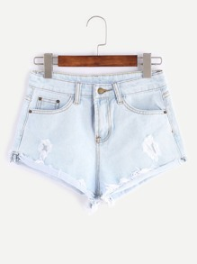 Pale Blue Frayed Cuffed Denim-Shorts