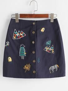Falda con bordado de caricatura con una botonadura - marino