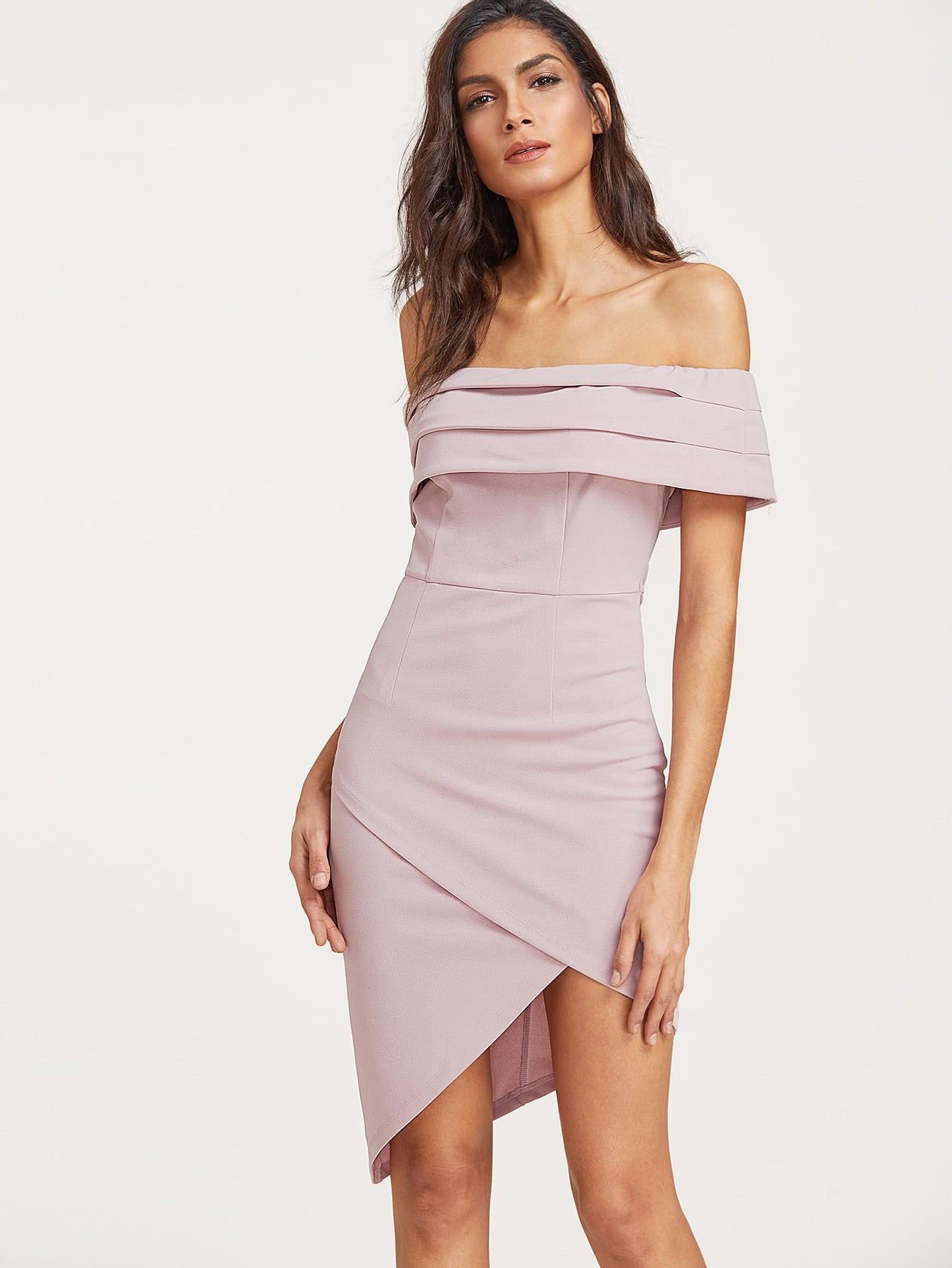 Фото Fold Over Asymmetric Wrap Bardot Dress. Купить с доставкой