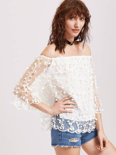 White Off The Shoulder Botanical Applique Mesh Overlay Top