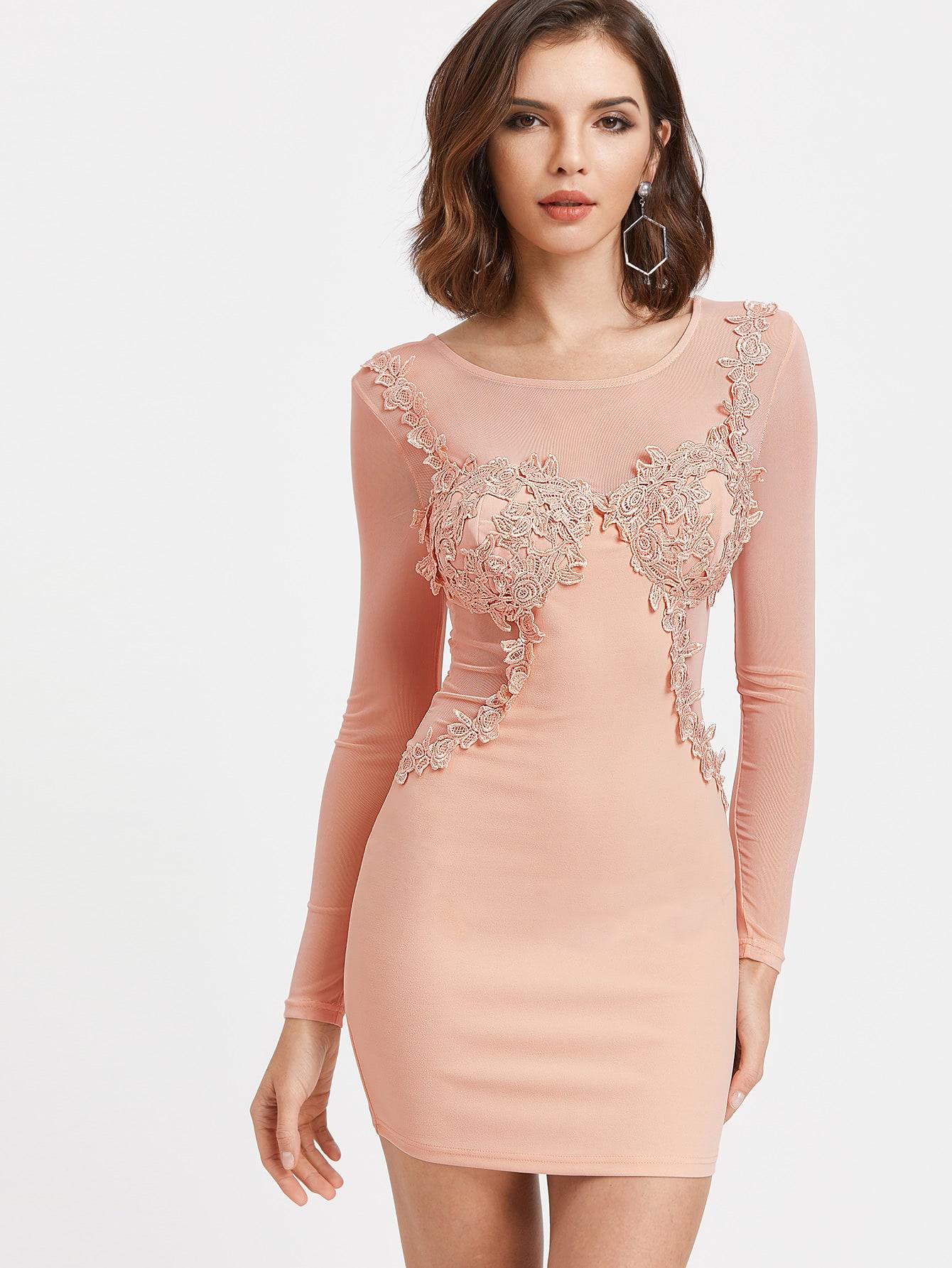 Pink Contrast Sheer Mesh Crochet Trim Bodycon Dress maison jules new junior s small s pink combo lace crepe contrast trim dress $89