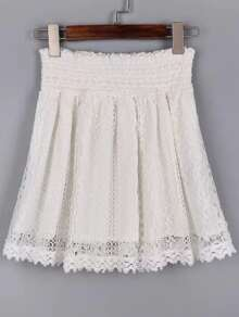 White Lace Crochet Elastic Waist Skirt