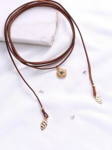 Brown Layered Wrap Choker With Flower Pendant
