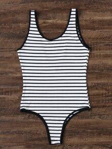 Striped One-Piece Swimwear