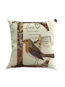 Funda de almohada con estampado de pájaro y letra
