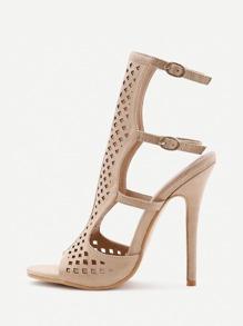 Sandales à talons hauts à talons compensés au laser