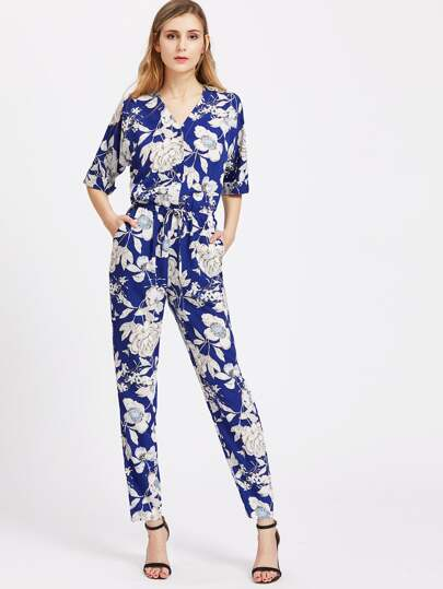 Floral V Neck Drawstring Shirtwaist Jumpsuit