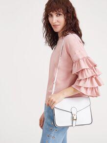 Bianco fibbia design Flap Bag Messenger