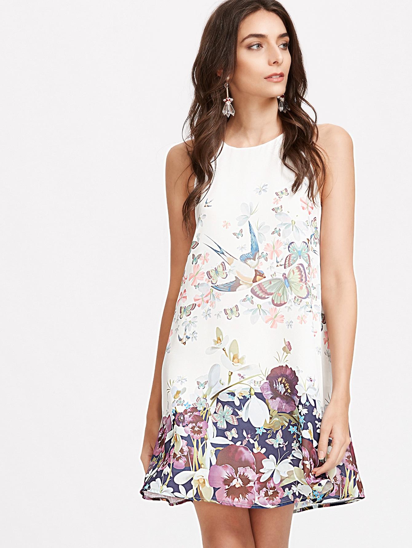 flower print keyhole back swing tank dress sheinsheinside With robe fleurie pour mariage