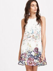 White Flower Print Keyhole Back A Line Tank Dress
