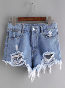 Distressed Raw Hem Denim Shorts