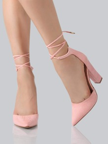 Faux Suede Ankle Wrap Heels PINK