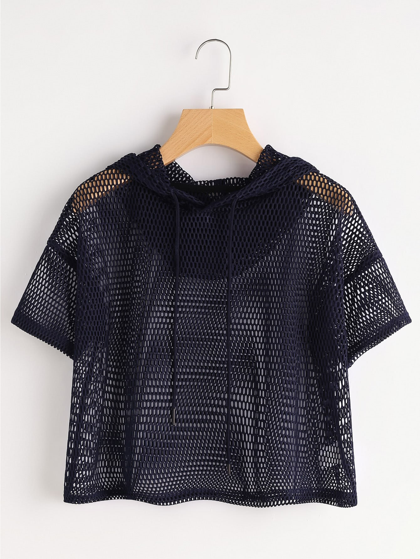 Drop Shoulder Crop Fishnet Hooded Top fishnet tights with crop top