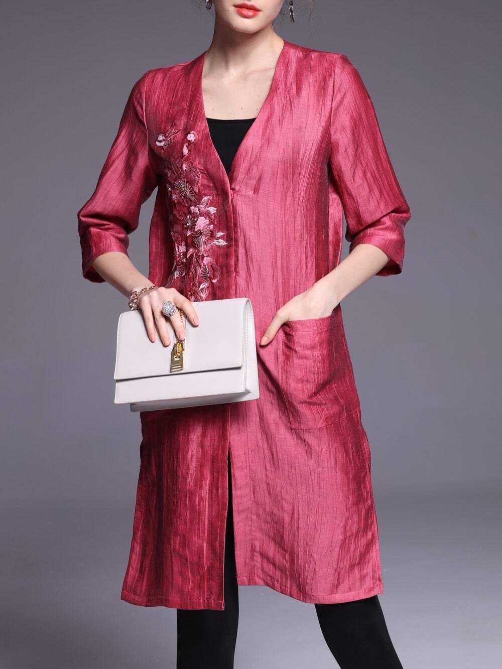 Фото Red V Neck Pockets Flowers Embroidered Dress. Купить с доставкой