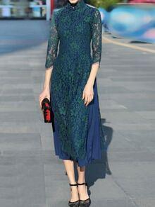 Green Collar Split Lace Long Dress