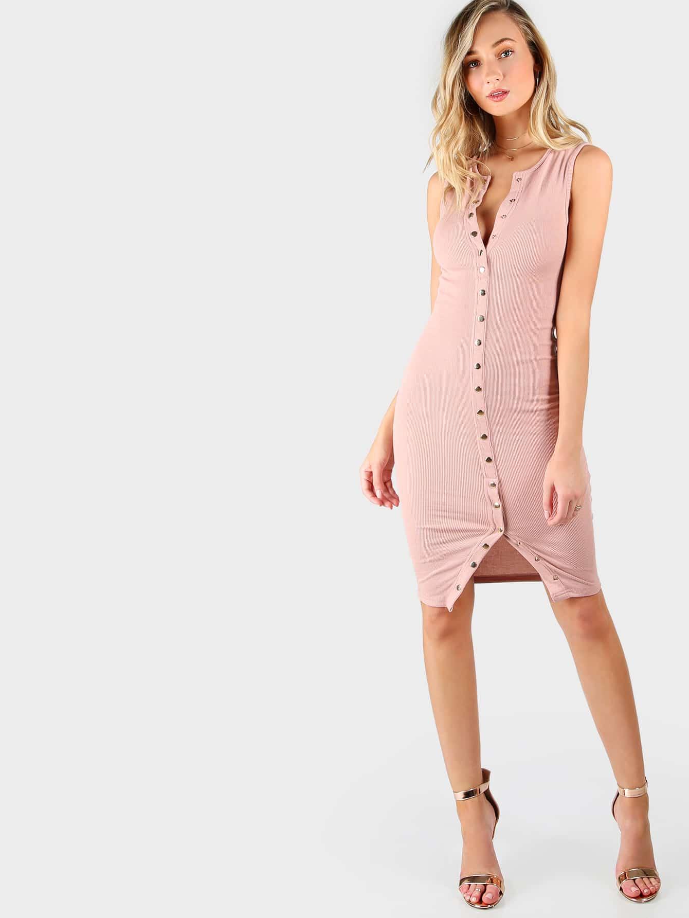 Button Down Ribbed Tank Dress mmcdress-hdd8002-blush