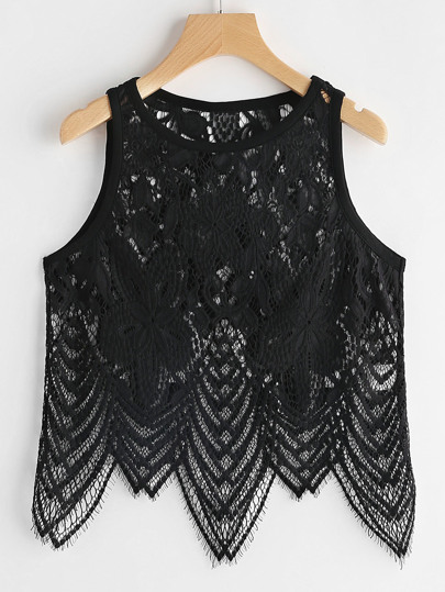 Scallop Hem Hollow Out Floral Lace Tank Top