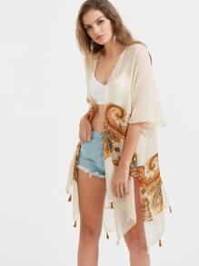 Abricot imprimé vintage à fente côté frange Hem Kimono