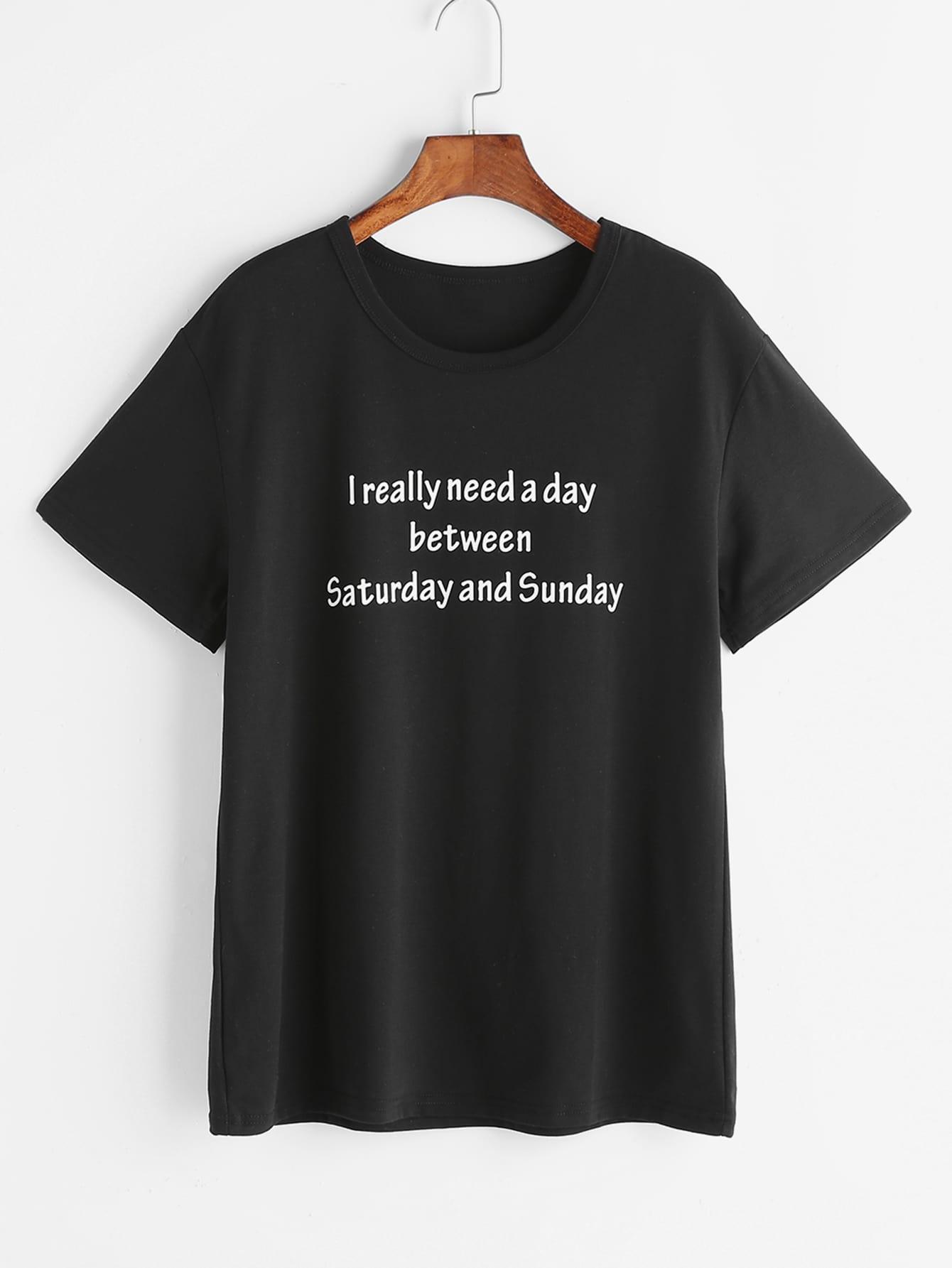 Black Slogan Print T-shirt tee170322301