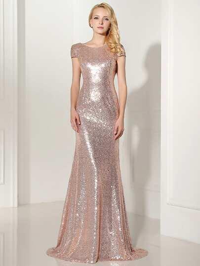 Rose Gold Sequin Open Back Maxi Bridesmaid Dress Shein