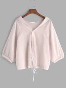 Pink Hooded Striped Drawstring Hem Blouse