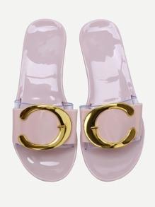 Sandales plates en or rose