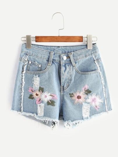 Light Blue Embroidered Ripped Raw Hem Denim Shorts