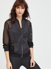 Black Fishnet Mesh Insert Jacket