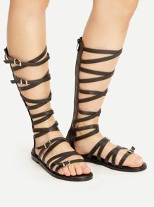 Sandalias acordonadas con correa con hebilla