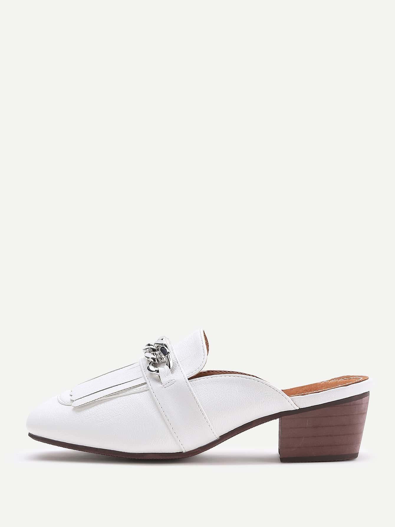 white fringe detail chunky heeled slip on shoes shein
