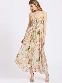 Tropical Print V Notch Sweetheart Smock Dress