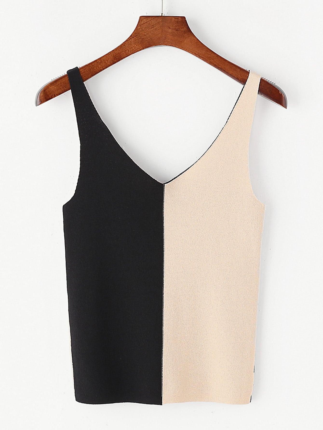Фото Contrast Double V Neck Knit Tank Top. Купить с доставкой