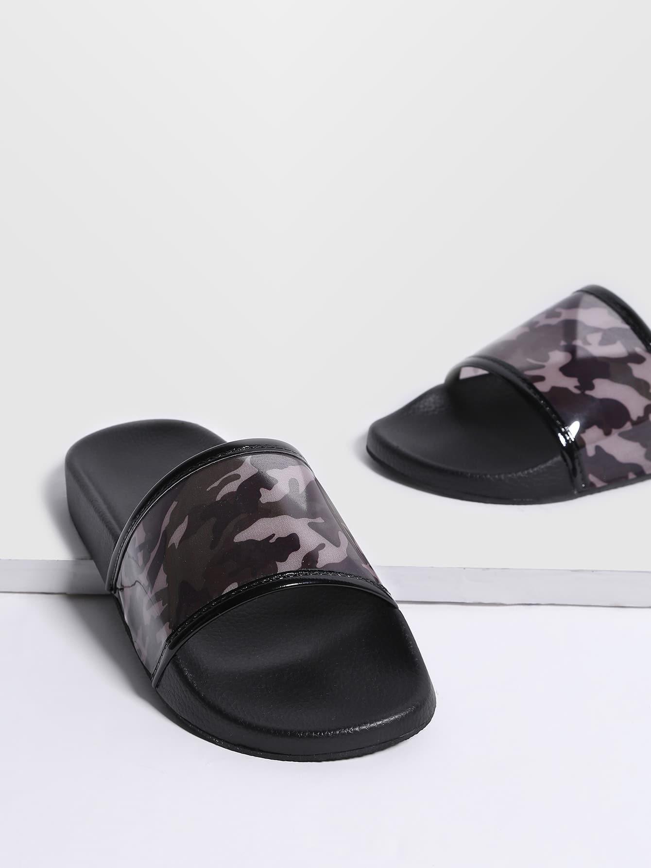 Фото Black Camouflage Print Open Toe PU Sandals. Купить с доставкой