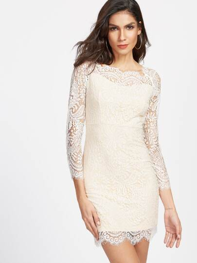 Eyelash Lace Overlay Bodycon Dress