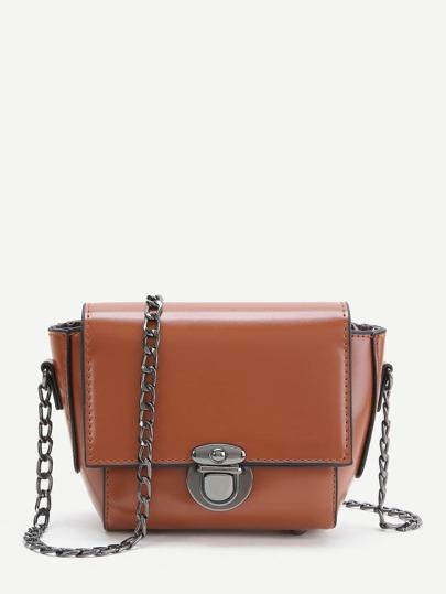 Brown PU Crossbody Chain Bag