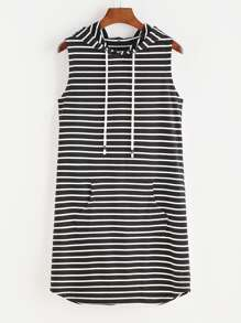Contrast Striped Pocket Front Drawstring Hooded Dress