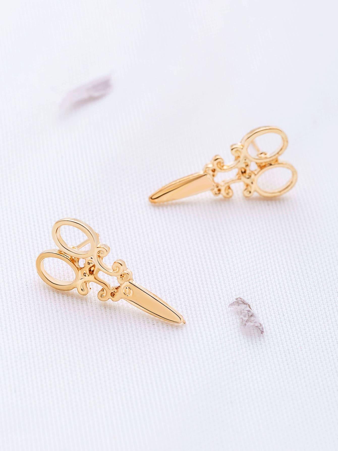 Фото Gold Scissors Shaped Stud Earrings. Купить с доставкой