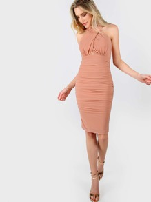 Front Criss Cross Ruched Dress PEACH