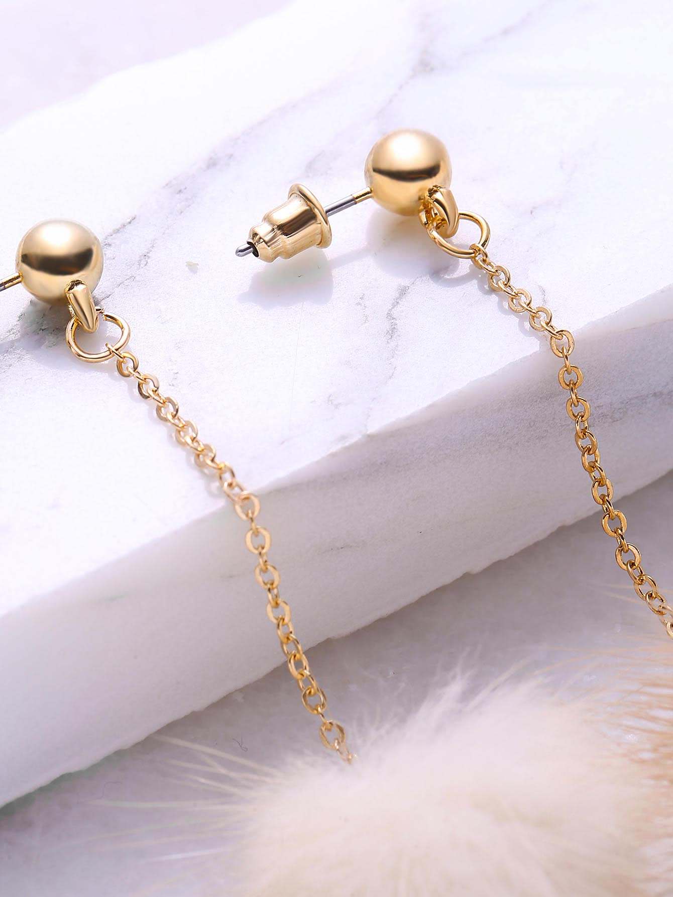 Beige Pom Pom Drop Earrings