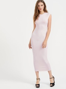 Crew Neck Cap Sleeve Skinny Dress