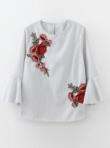 Embroidery Vertical Striped Bell Sleeve Blouse