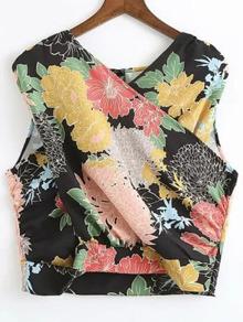 Black Flower Print Surplice Front Sleeveless Top