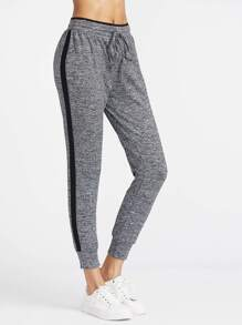 Contrast Side Marled Knit Tapered Sweatpants