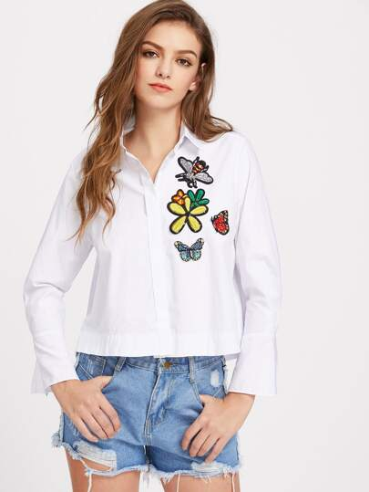 Embroidered Applique Detail Hidden Button Blouse